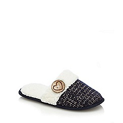 Lounge & Sleep - Navy knitted sherpa trim mule slippers