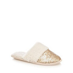 Lounge & Sleep - Gold sequin embellished mule slippers