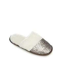 Lounge & Sleep - Silver sequinned mule slippers