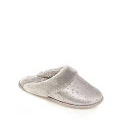 Lounge & Sleep - Grey foil-effect star print mule slippers
