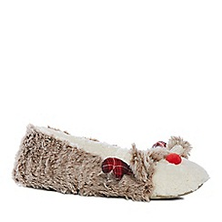 Lounge & Sleep - Brown fleece reindeer applique slippers