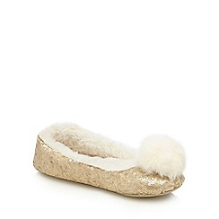 Lounge & Sleep - Gold sequinned pom pom ballet slippers