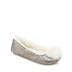 Lounge & Sleep - Silver sequin pom pom slippers