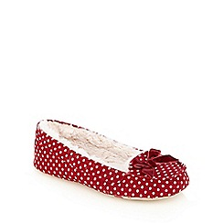 Lounge & Sleep - Red polka dot print bow applique moccasin slippers