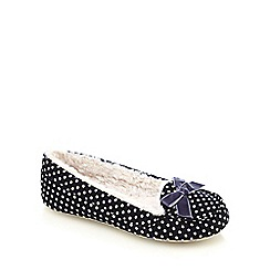 Lounge & Sleep - Navy spotted moccasin slippers