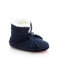 Iris & Edie - Navy blue short knit slipper boots