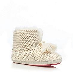 Iris & Edie - Cream knitted tasselled detail slipper boots