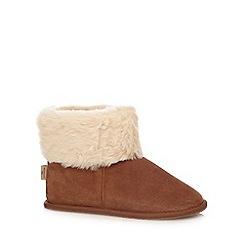 RJR.John Rocha - Tan suede faux fur slipper boots