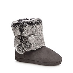 RJR.John Rocha - Dark grey faux fur slipper boots
