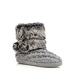 RJR.John Rocha - Grey faux fur knitted slipper boots