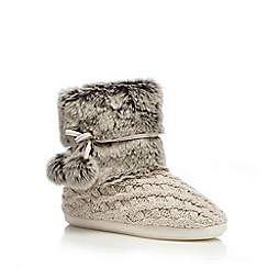 RJR.John Rocha - Cream faux fur knitted slipper boots