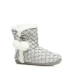 RJR.John Rocha - Grey basket weave knit slipper boots