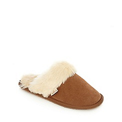 RJR.John Rocha - Tan suede faux fur mule slippers
