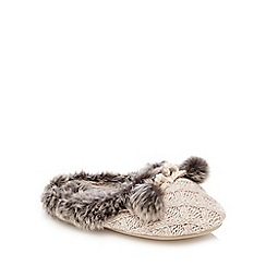RJR.John Rocha - Cream knit pom slippers