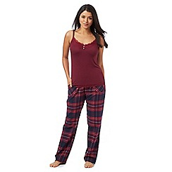 Gorgeous DD+ - Dark red cami top and checked bottoms set