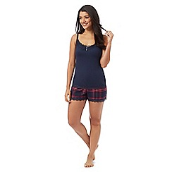 Gorgeous DD+ - Navy cami top and checked shorts set