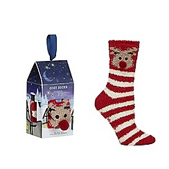 Lounge & Sleep - Red reindeer socks in a gift box