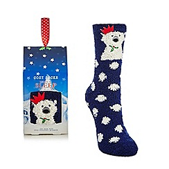 Lounge & Sleep - Navy polar bear applique cosy socks