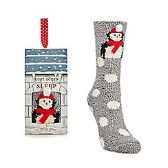 Lounge & Sleep - Grey penguin applique cosy socks in a gift box