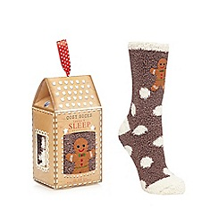 Lounge & Sleep - Grey gingerbread applique socks in a gift box
