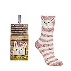 Lounge & Sleep - Pink bunny applique cosy socks in a gift box