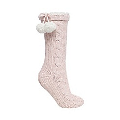 Lounge & Sleep - Light pink sparkle cable knit socks