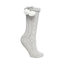 Lounge & Sleep - Grey sparkle cable knit socks