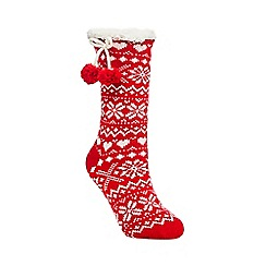 Lounge & Sleep - Red Nordic patterned knitted socks