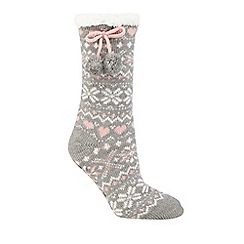 Lounge & Sleep - Grey Fair Isle slipper boots