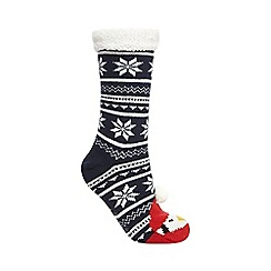 Lounge & Sleep - Navy penguin chunky knit socks