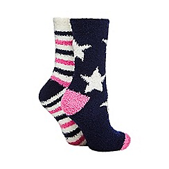 Lounge & Sleep - Pack of two navy star print cosy socks