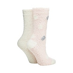 Lounge & Sleep - Pack of two pink polka dot cosy socks