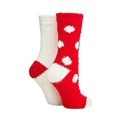 Lounge & Sleep - Pack of two red polka dot cosy socks