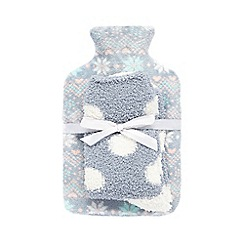 Lounge & Sleep - Pale blue fair isle patterned hot water bottle and socks set