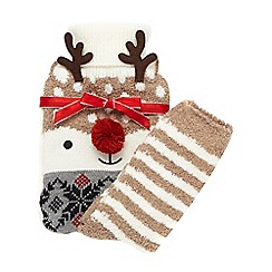 Lounge & Sleep - Brown reindeer patterned hot water bottle and socks set