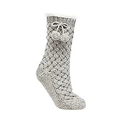 RJR.John Rocha - Grey basketweave slipper socks