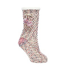 RJR.John Rocha - Pink space dye chunky knit slipper socks
