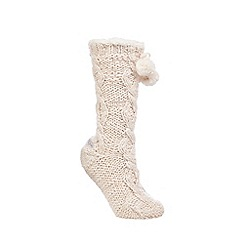 RJR.John Rocha - Cream chunky knit slipper socks