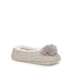 RJR.John Rocha - Grey knitted pom pom slippers