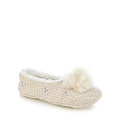 RJR.John Rocha - Cream knitted pom pom slippers