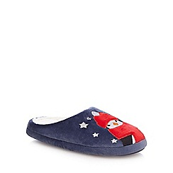 Lounge & Sleep - Navy penguin print mule slippers