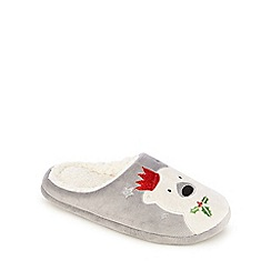 Lounge & Sleep - Grey polar bear applique mule slippers