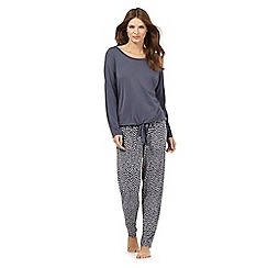 J by Jasper Conran - Tall dark grey drawstring hem pyjama top and printed bottoms set