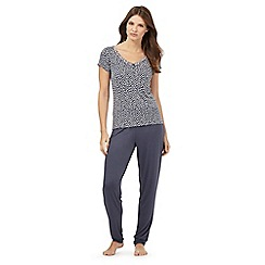 J by Jasper Conran - Dark grey printed pyjama top and plain bottoms set