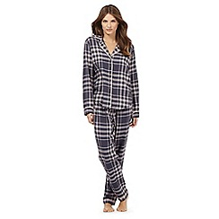 J by Jasper Conran - Petite dark grey and pink checked print pyjama set