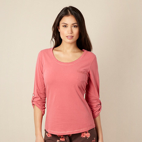 RJR.John Rocha - Dark peach lace pocket pyjama top