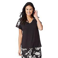 The Collection - Black rose print pyjama top