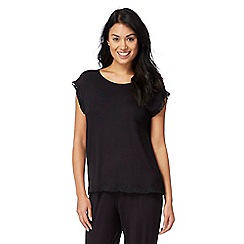 The Collection - Black lace trim pyjama top