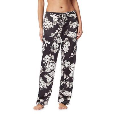 The Collection Black rose print satin pyjama bottoms