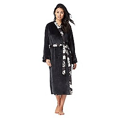 The Collection - Black rose print reversible long dressing gown